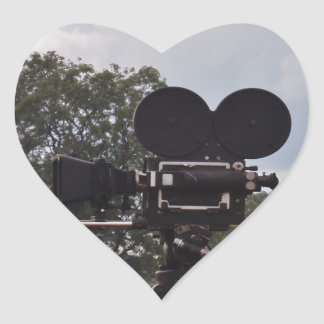 Vintage Newsreel Camera Heart Stickers