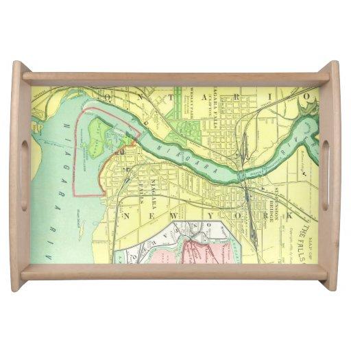 Vintage Niagara Falls y mapa 1885 de la vecindad Bandeja