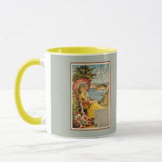 Vintage Nice French Riviera winter travel ad Mug