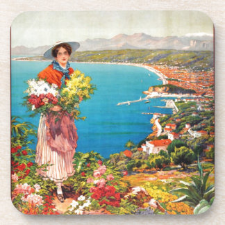 Vintage Nice Reine Cote D'Azur Drink Coaster