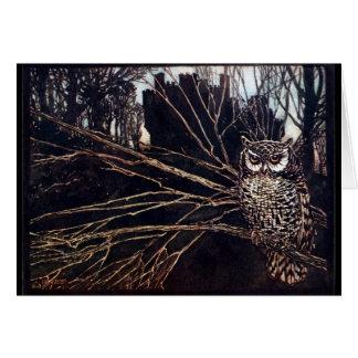 Vintage Night Owl Greeting Card