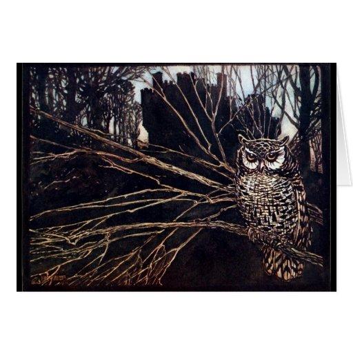 Vintage Night Owl Greeting Cards