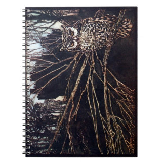 Vintage Night Owl Spiral Notebook