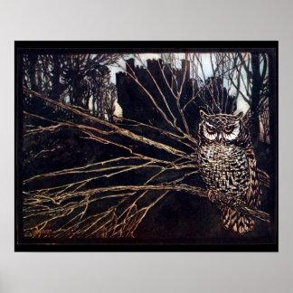 Vintage Night Owl Poster