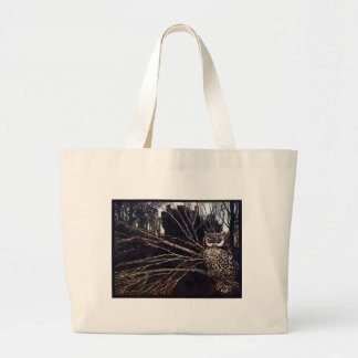 Vintage Night Owl Rackham Large Tote Bag