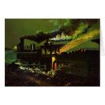 Vintage Night Train Railroad rr Locomotives Card
