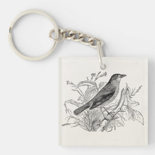 Vintage Nightingale Bird Personalized Retro Birds Keychain b534fc160