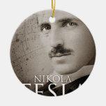 Vintage Nikola Tesla photo Double-Sided Ceramic Round Christmas Ornament