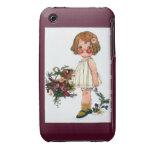 Vintage - niña linda Case-Mate iPhone 3 funda