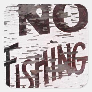 Vintage ninguna muestra de la pesca pegatina cuadrada
