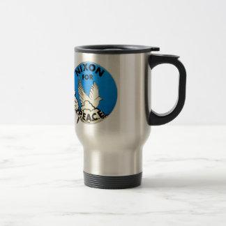 Vintage Nixon For Peace Button Travel Mug