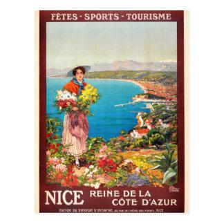 Vintage Niza Reine Cote d'Azur Tarjeta Postal