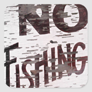 Vintage No Fishing Sign Square Stickers