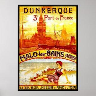Vintage Nord-Pas-de-Calais, Dunkerque, France - Poster