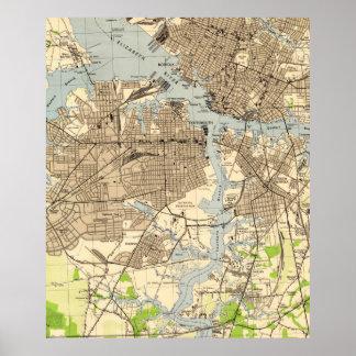 Vintage Norfolk & Portsmouth Virginia Map (1944) Poster
