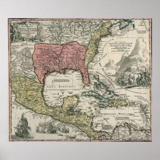 Vintage Norteamérica y mapa del Caribe (1720) Póster