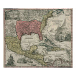 Vintage North America and Caribbean Map (1720) Poster