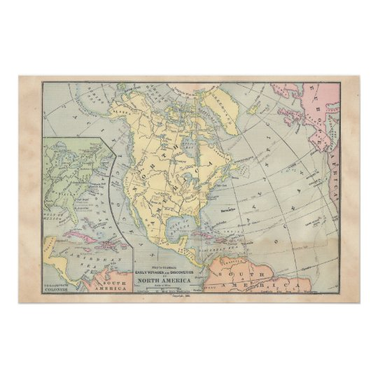Vintage North America Map Poster | Zazzle.com