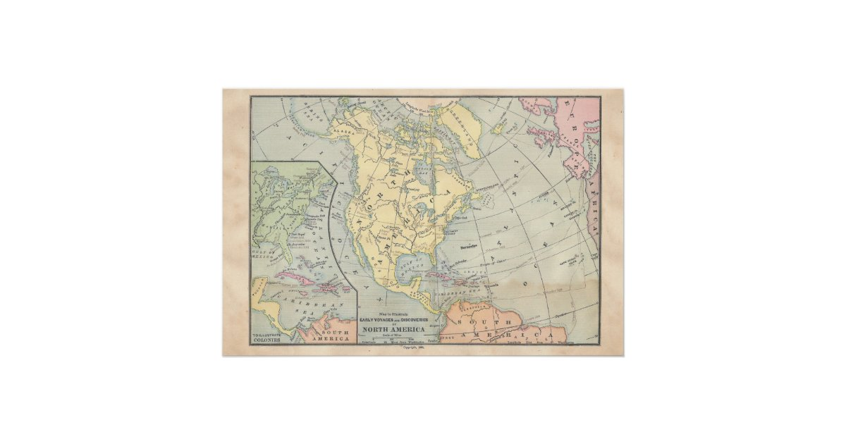 Vintage North America Map Poster   Zazzle.com