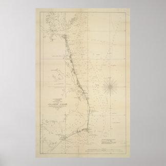 Vintage North Carolina and Virginia Coastal Map Poster