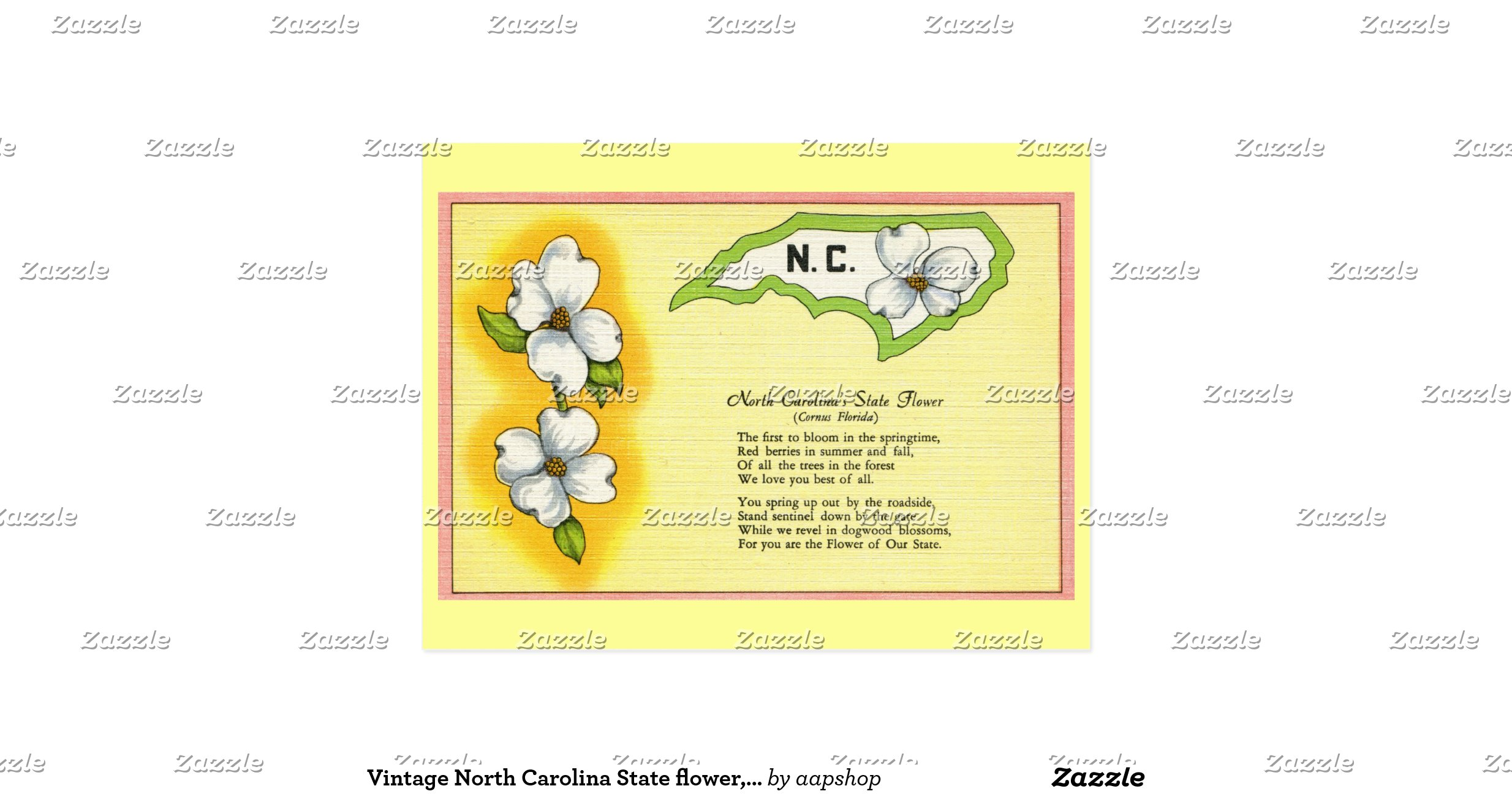 vintage north carolina state flower poem postcard rd74c5fd4f3cd491ca b0d4