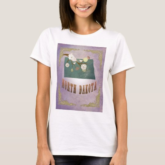Vintage North Dakota State Map- Sweet Lavender T-Shirt