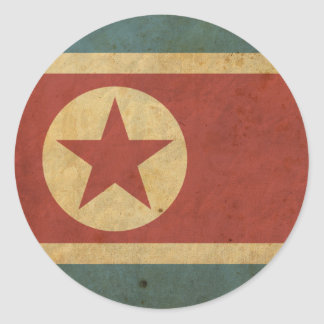 Vintage North Korea Flag Classic Round Sticker
