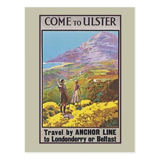 Vintage Northern Ireland Boat travel ad Postcard