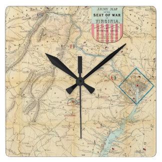 Vintage Northern Virginia Civil War Map 1862 Wall Clock