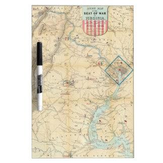 Vintage Northern Virginia Civil War Map 1862 Dry-Erase Whiteboard