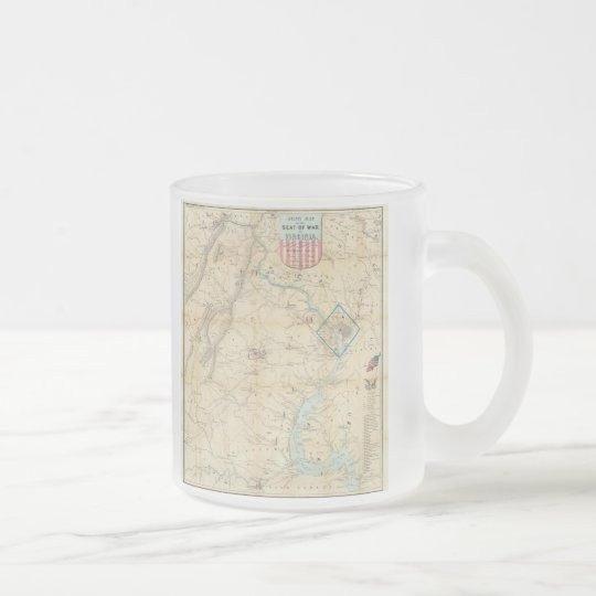 Vintage Northern Virginia Civil War Map (1862) Frosted Glass Coffee Mug