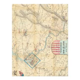 Vintage Northern Virginia Civil War Map 1862 Customized Letterhead