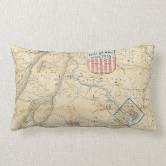 Vintage Northern Virginia Civil War Map (1862) Lumbar Pillow