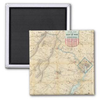 Vintage Northern Virginia Civil War Map (1862) 2 Inch Square Magnet