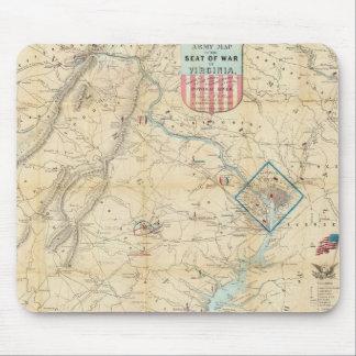 Vintage Northern Virginia Civil War Map 1862 Mousepads