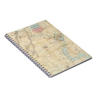 Vintage Northern Virginia Civil War Map 1862 Spiral Note Books
