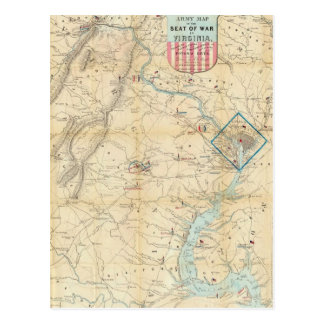 Vintage Northern Virginia Civil War Map (1862) Postcard