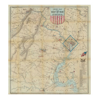 Vintage Northern Virginia Civil War Map (1862) Poster