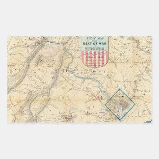 Vintage Northern Virginia Civil War Map (1862) Rectangular Sticker