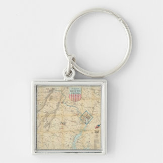 Vintage Northern Virginia Civil War Map (1862) Silver-Colored Square Keychain