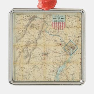 Vintage Northern Virginia Civil War Map (1862) Square Metal Christmas Ornament