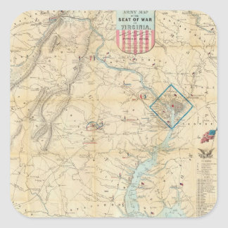 Vintage Northern Virginia Civil War Map (1862) Square Sticker