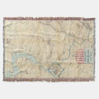Vintage Northern Virginia Civil War Map (1862) Throw