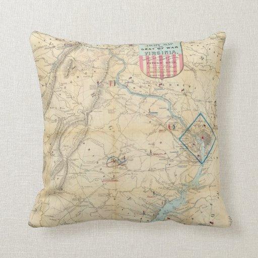Vintage Northern Virginia Civil War Map (1862) Throw Pillow