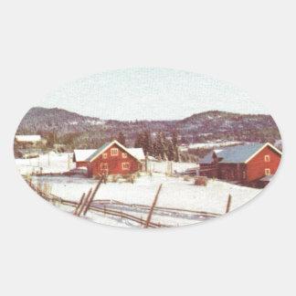 Vintage Noruega, cortijo en el navidad Pegatina Ovalada