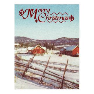 Vintage Noruega, cortijo en el navidad Postal