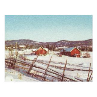Vintage Noruega, cortijos rojos en las montañas Postales