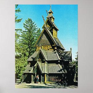 Vintage Noruega, iglesia del bastón Póster
