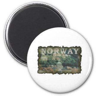 Vintage Noruega Imán Redondo 5 Cm