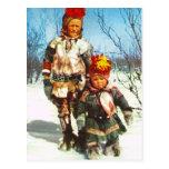 Vintage Noruega, Laponia, niños de Sami en la niev Tarjeta Postal